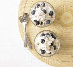 Blueberry bircher pots  Avoid the lure of the muffin and latte. These snacks help beat off the mid-morning munchies