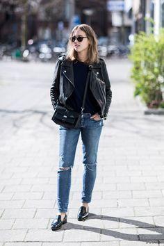 gracespain:  Leather Jacket, Acne Studios; Sweater, ATM Anthony Thomas Melillo; Jeans, Paige Denim; Shoes, Zara; Bag, Rodtnes; Sunglasses, Bottega Veneta