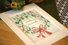 Handpainted Thumbprint Wreath With a Red by TailoredBrushstrokes