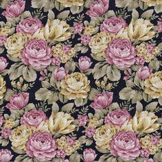 D030 - Floral Madrid Fundo Preto - Estampas Digitais - Tecidos Fabricart