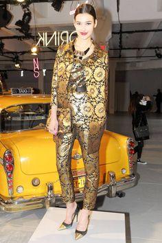 A bold, gold brocade suit at Kate Spade Fall 2013 #NYFW
