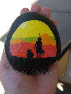 Bb8 and Rey, Star Wars painted rock #paintedrocks #kindnessrocks