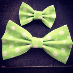 Lime Green Polka Dot Linen Hair Bow - Monster on Etsy, $10.25