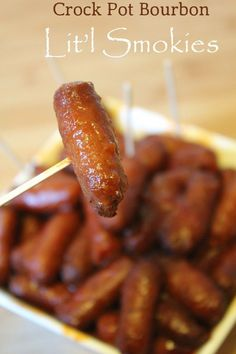 Crock Pot Bourbon Glazed Litl Smokies! The perfect appetizer for Super Bowl football parties and holiday events! So easy to make and taste amazing! This appetizers recipes is sooooo good! Perfect for feeding a crowd of hungry guests!
