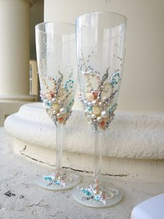 Beautiful Wedding Champagne Gles In Blush Pink Ivory Silver And Turquoise Elegant Toasting