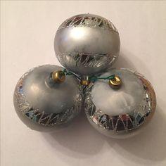 Silver Glittered Ball Ornaments | glass - 2 1/2  in. | 3 ornaments | Bought in Gomez Palacio