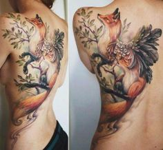 Back Piece tattoo. Artist: Rom Azovsky Fox I don't like tattoos that much, but this is really pretty.