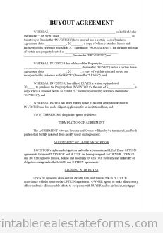 Free Buyout Agreement Printable Real Estate Forms