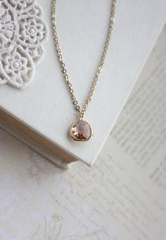 Peach Pear Glass Tear Drop Necklace.Blush Champagne by Marolsha