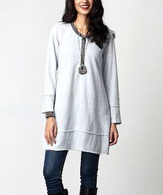 Look what I found on #zulily! Gray French Terry Button-Front Tunic #zulilyfinds