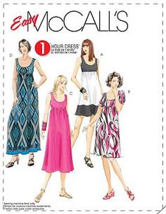 Misses Dresses In 4 Lengths McCalls Pattern 5893.