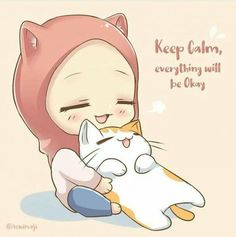 cat and muslim girl Kawaii Art, Kawaii Anime, Girl Cartoon, Cartoon Art, Anime Chibi, Anime Art, Hijab Drawing, Image Citation, Islamic Cartoon