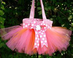 Tangerine Princess Tutu Purse8x8 ToteHot PInk & by PoshPinksTutu, $21.95 - I would definitely buy this CUTE pink tutu bag if I had a kid... :)