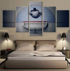 This is amazing,  and something I'd love to do when we redo Drus room. Ice Hockey 5 Pcs Canvas Wall Art