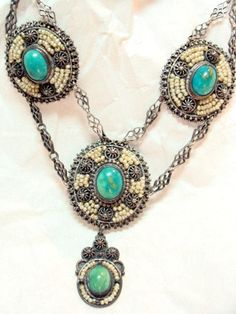 Antique Victorian Turquoise and Seed Pearl Necklace   Collectors Weekly