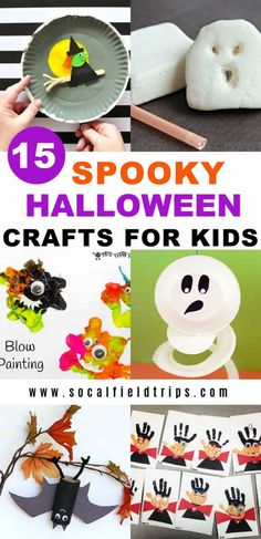 Check out this list of 15 Spooky Halloween Crafts For Kids for festive ideas and inspiration to celebrate the goolish holiday! Spooky Halloween Crafts, Halloween Activities For Kids, Toddler Halloween, Easy Crafts For Kids, Halloween Themes, Fun Crafts, Preschool Halloween, Halloween Decorations, Halloween Inspo