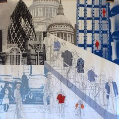I take my first point of reference from crowds and large gatherings of people, looking for the detail in the ordinary but also the commonality within the group. Architecture Tattoo, Art And Architecture, Rosie James, A Level Textiles, Collage Art Mixed Media, Building Art, A Level Art, Gcse Art, London Art