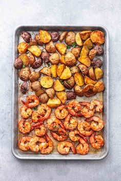Sheet Pan Cajun Shrimp and Potatoes will fill your bellies with warm, spicy shrimp and soft, tender, buttery baby potatoes. Shrimp Potato Recipe, Red Potato Recipes, Shrimp Recipes, Creamy Shrimp Pasta, Cajun Shrimp, Cajun Food, Healthy Meat Recipes, Healthy Cooking, Fun Recipes