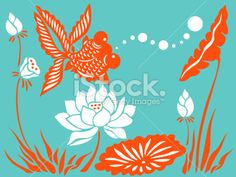 Goldfish & Lotus Royalty Free Stock Vector Art Illustration  http://www.istockphoto.com/stock-illustration-4430829-goldfish-amp-lotus.php