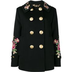 b1ea236732954 Dolce   Gabbana rose embroidered military coat (7,915 SGD) ❤ liked on  Polyvore featuring