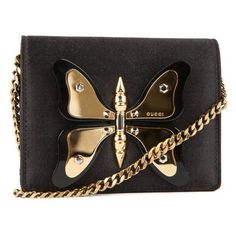 Gucci Black Satin And Gold Butterfly Mini Purse (1 360 AUD) ❤ liked on Polyvore featuring bags, handbags, gucci handbags, mini bag, gucci, handbags purses and gold hand bag