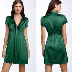 BCBGMAXAZRIA Green Silk Dress Beautiful silk dress by BCBGMAXAZRIA with a pleated ruffle neckline. BCBGMaxAzria Dresses