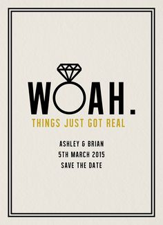 Woah Save The Date card by Daydream Prints on Postable.com