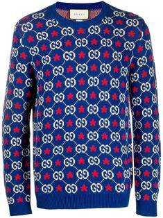 Gucci Gg Supreme-intarsia Knitted Cotton Jumper In 4915 Multi Stylish Mens Outfits, Cool Outfits, Casual Outfits, Gucci Top, Guccio Gucci, Gucci Sweatshirt, Supreme Logo, Gq Style, Star Logo