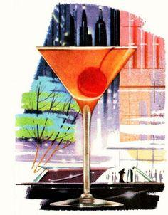 1956 Comfort Manhattan. Botanical Illustration, Watercolor Illustration, Vintage Cocktails, Cocktail Waitress, Food Poster Design, Hooch, Graphic Artwork, Wine And Liquor, Vintage Bar