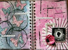 DT project for SOE using the August kit, raindrops on roses. I used the color add on, the creativity add on and some of the flower add on. My first attempt at art journaling.