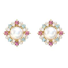 Estate Paul Morelli Pearl, Pink Tourmaline & Aquamarine Cluster Earrings