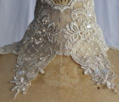 Gold Lace Organza Trim with Faux pearls and by CreationsbyLSM, $4.86