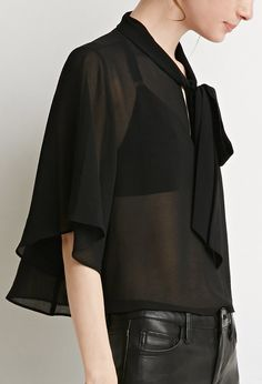 Contemporary Self-Tie Neck Cropped Blouse | Forever21