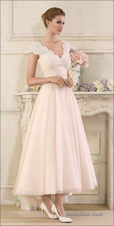 111 elegant tea length wedding dresses vintage (34)