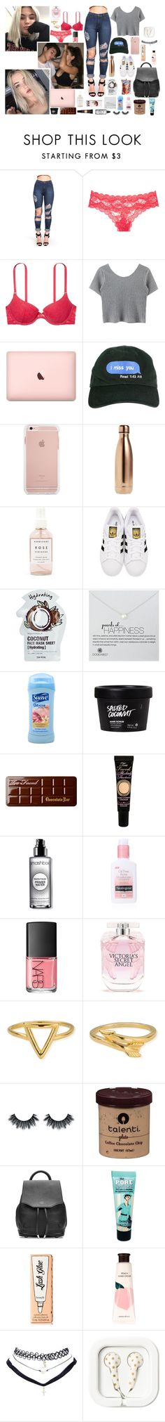 """""""' she's a bad thing , sh.it. fine as hell , thick as f.uck '"""" by d3structionxx ❤ liked on Polyvore featuring Victoria's Secret, S'well, Herbivore, adidas Originals, Tony Moly, Dogeared, Suave, Too Faced Cosmetics, Smashbox and Neutrogena"""