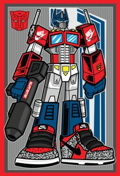 Here's my cool take on Optimus Prime and mashup of Streetwear brand Supreme not much more to say that! Autobots Transform and Rollout! Optimus Prime, I Cool, Cool Stuff, Nike Presents, Smile Wallpaper, Supreme Wallpaper, Sneaker Art, Basketball Art, Hip Hop Art