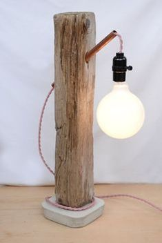 lighting with copper tubing and cement base - floor lamp size for boy's room? Driftwood Lamp, Copper Tubing, Wooden Lamp, Wooden Decor, Rustic Lighting, Lighting Design, Woodworking Wood, Wood Sculpture, Lamp Design