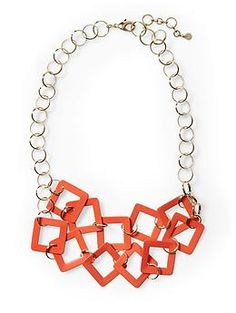 Tinley Road Square Link Necklace.......so cute!! this could be done easily and with any color you want!