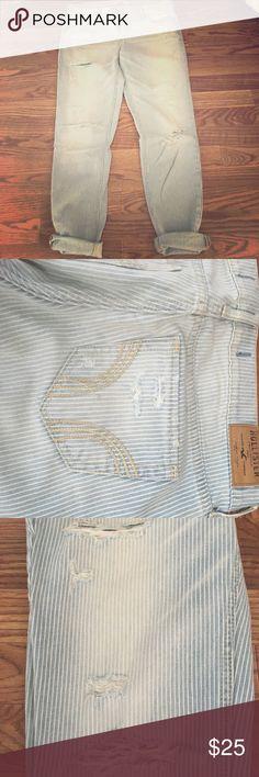 RAILROAD STRIPE SKINNY JEANS Railroad stripe skinny jeans with destroy & fade details. Hollister Jeans Skinny