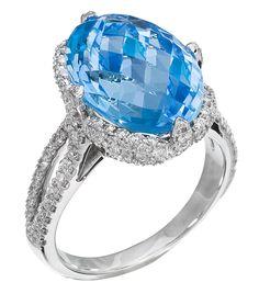Diamond Ring, .83 Carat Diamonds 10.49 Carat Topaz on 14K White Gold