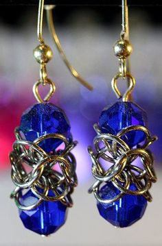 'Chainmaille & Sapphire Crystal Earrings' is going up for auction at  4pm Sun, Mar 3 with a starting bid of $5.