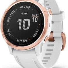 Garmin Fenix Pro Rose Gold-Tone With White Band GPS Multisport Smartwatch Smartwatch, Windows Xp, Mac Os, Bluetooth, Indoor Rowing, Stations De Ski, Android Watch, G Shock Watches, Gps Watches