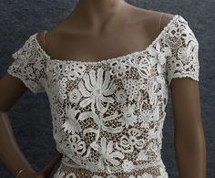 Edwardian Clothing at Vintage Textile: #2711 Irish lace wedding dress