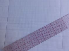 Position your ruler exactly as shown. Then make small marks every along the length of the ruler - Quilts Online, Used Computers, Happy Design, Outline Drawings, Paper Piecing Patterns, Graph Paper, How To Make Notes, Pattern Blocks, Ruler