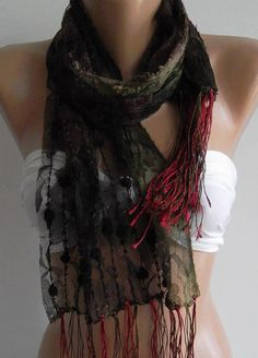 Burgundy  / lace and Elegance Shawl / Scarf  with Lace by womann, $14.50