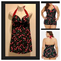 704b76e328119 New Rockabilly Pinup Rosegal Red Cherries Halter Boy Short Swim Bathing Suit  XXL