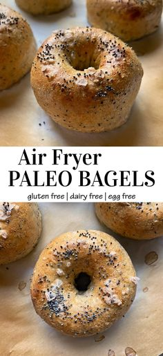 This healthy air fryer bagel recipe is gluten free, dairy free (made without yogurt) and egg free. This is a great Paleo and Vegan bagel recipe that's boiled and then air fried for a chewy interior and crispy exterior. #glutenfreevegan #bagelrecipe #noyeast #paleobagel Vegan Bagel, Paleo Vegan, Paleo Food, Healthy Food, Healthy Meals For Kids, Healthy Breakfast Recipes, Breakfast Ideas, Eggless Recipes, Paleo Recipes