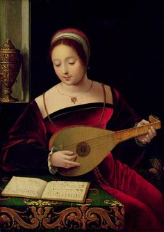 Master of Female Half-Lengths -  Mary Magdalene Playing the Lute  (Master of Female Half-Lengths was a flemish Northern  Renaissance Painter, active ca.1530-1540)