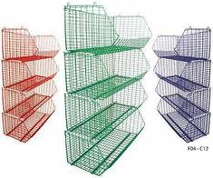 Wire / Mesh Storage Baskets - A great range of sizes and colours available - Perfect for builders merchants and retail companies. Vegetable Rack, Builders Merchants, Wire Mesh, Storage Baskets, Industrial, Retail Companies, Dividers, Desks, Shelving