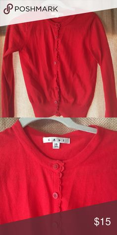 Red cabi cardigan Darling cardigan with scalloped detailing along the buttons. Lightly worn. CAbi Sweaters Cardigans
